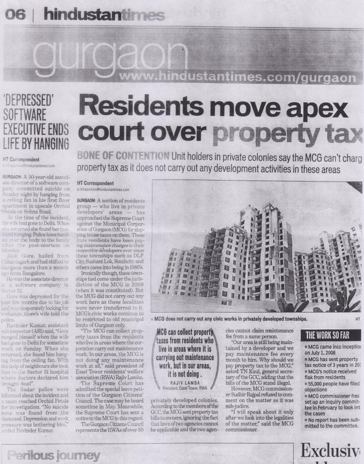 Residents move apex court over property tax Hindustan Times 01May2012